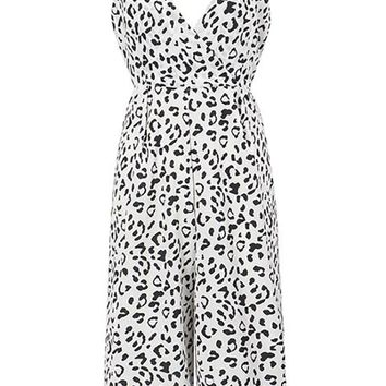Never Out Of Step Leopard Print Animal Pattern Sleeveless Spaghetti Strap Cross Wrap V Neck Cut Out Back Wide Leg Loose Crop Jumpsuit - 2 Colors Available - Sold Out