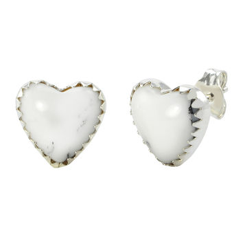 Sterling Silver Gemstone Earrings White Turquoise Heart Studs 11mm