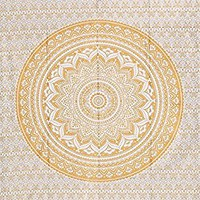 Indian Traditional Mandala Hippie Wall Hanging, Cotton Tapestry Ombre Bohemian Bedspread (Twin(54x72 Inches)(140x185 Cm), Golden)