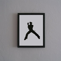 Jin Tekken Hand Cut black silhouette papercut by CuttingPixels