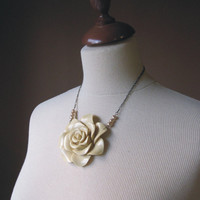 The Victorian Necklace  Ivory rose by TheButterfliesShop on Etsy