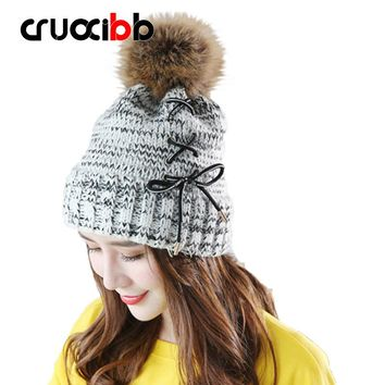 Winter Hat Women Beanie Girls  Pom Poms Hats with Large Raccoon Hair Ball Tie Rope Bow Knitted Rings Super Quality Snow Caps