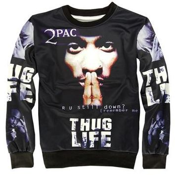 Alisister new fashion THUG LIFE sweatshirt Women Men Tupac 2PAC sweatshirt ROCK hoodie Pullover  clothing crewneck sweat shirts