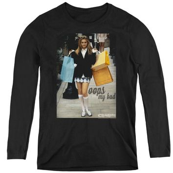Clueless Womens Long Sleeve Shirt Cher Oops My Bad Black Tee