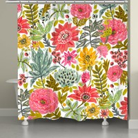 Succulent Floral Shower Curtain