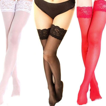 2017 Hot Sale Sexy Women Girls Lace Top Thigh High Stockings Nightclubs Sex Pantyhose