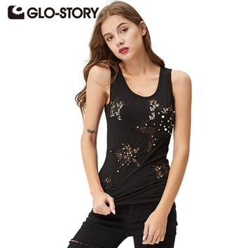 Graphic Summer women's Tank tops Star hollow hollow beaded multi-color fashion vest tank top