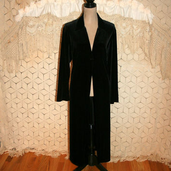 Black Velvet Duster Coat Velvet Coat Long Coat Edwardian Clothing Gypsy Bohemian Clothing Long Black Coat Large XL Womens Clothing