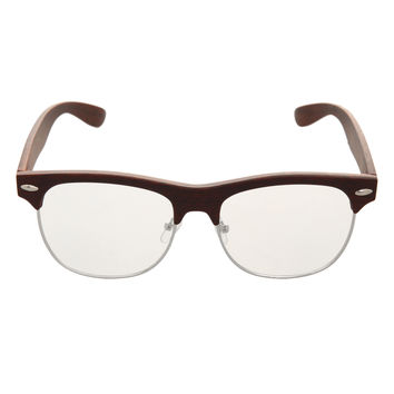 Faux Wood Half-Frame Glasses