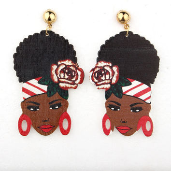 Indian Africa Woman Statement Earrings Jewelry Colorful Figure Flower Wood Long Dangle