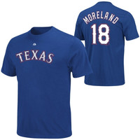 Majestic Mitch Moreland  Texas Rangers Player Name & Number T-Shirt - Royal Blue
