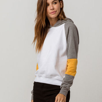 FULL TILT Color Block Raglan Gray Womens Crop Hoodie