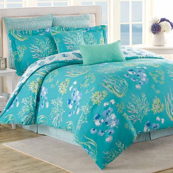King Size 8 Piece Comforter Set Beach Ocean Sea Teal Blue