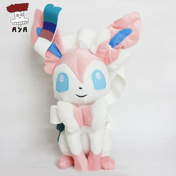 "Anime Pokemon Plush Toys 13"" 34cm Big Sitting Sylveon Kawaii Soft Stuffed Plush Doll Kids Toys Christmas Gift For Children"