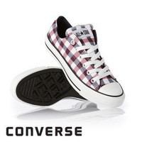 Converse All Star Plaid Ox Shoes - White/Navy/Red