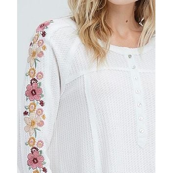 where your love lies - waffle knit embroidered long sleeve henley thermal top - ivory