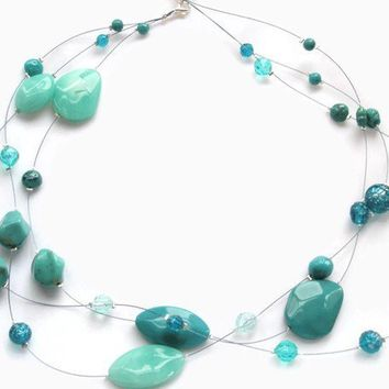 Necklace floating beads Turquoise multi strand