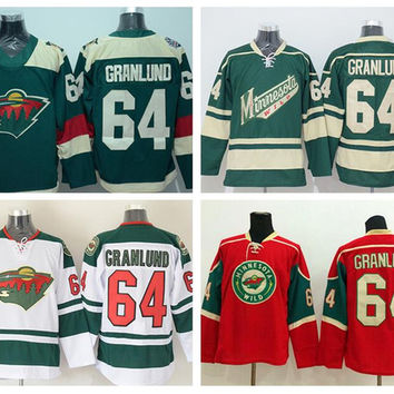 Minnesota Wild 64 Mikael Granlund Jersey Stadium Series Ice Hockey Jerseys Mikael Granlund Team Color Red Green White Embroider Logos