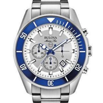 Bulova Marine Star Mens Chronograph - Blue & White Design - Rotating Bezel