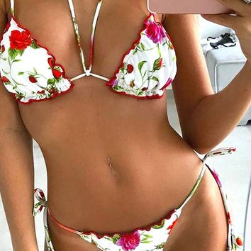 Get Attached Floral Dot Pattern Triangle Ruffle Top Tie Side Brazilian Bikini Two Piece Swimsuit - 6 Colors Available