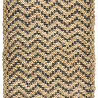 Herringbone Braided Jute Area Rug in Grey and Natural design by Classic Home