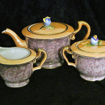 Noritake Lusterware Teapot Sugar Bowl with Lid and Creamer Set Rose Bud Final Morimura Mark 1920s Art Deco  Japan Japanese Porcelain
