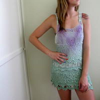 Crochet Dress Knit See Through Green Purple Mini