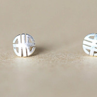 925 Sterling Silver (simple auspicious grain silver jewelry earrings)