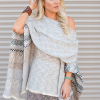 Must Love Knitted Poncho Sweater In Gray