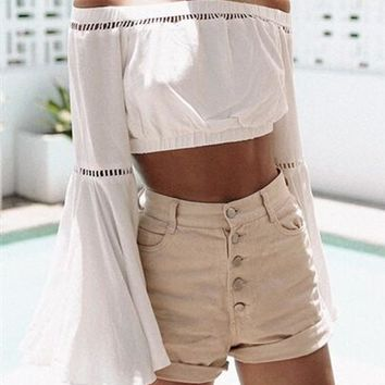 White Plain Hollow-out Off Shoulder Crop Flare Sleeve T-Shirt