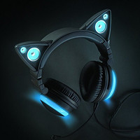 LED Sky Blue Kitten Ear Headphones (Wired)