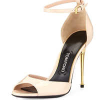 Tom Ford Patent Ankle-Wrap d'Orsay Sandal