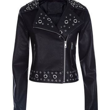 Pink Vanilla Black Eyelet Leather-Look Biker Jacket | New Look