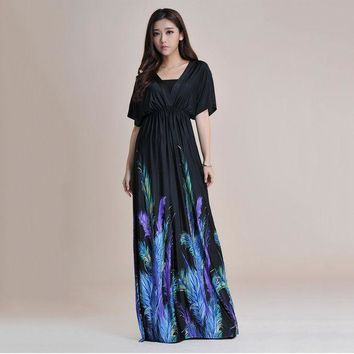 LMFUNT 2016 Summer Short Batwing Sleeve Sexy Backless Long Maxi Dress Women Print Loose Plus Size Beach Boho Silk Dresses Large 6XL