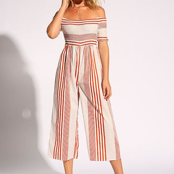 Rust Stripe Off Shoulder Palazzo Jumpsuit