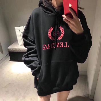 """Balenciaga"" Women Casual Fashion Letter Logo Print Loose Long Sleeve Pullover Hooded Sweater Sweatshirt Tops"