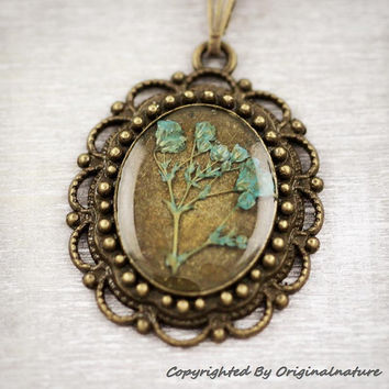 Nature Inspired Jewelry Real Dried Flower Necklace Gift for Her (HM0129)