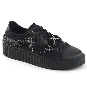Sneeker 112 Black Canvas Chains Creeper Sneaker Men's US Sizes 4-13
