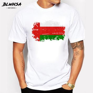 BLWHSA New 2017 Summer Nostalgic Style Oman National Flag Design T Shirt Men's High Quality Tops Hipster Tees Oman