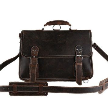 BLUESEBE MEN HANDMADE VINTAGE LEATHER SATCHEL/BACKPACK 7161R