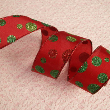 "Red and Green Christmas Ribbon, 1 1/2"" Wide, Wired Edge, Baskets, Bows, Wreaths, Holiday Home Decor, Ribbon Decorations, 5 YARDS"