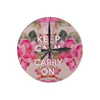 Girly keep calm..Vintage pink elegant floral roses Round Wall Clocks from Zazzle.com