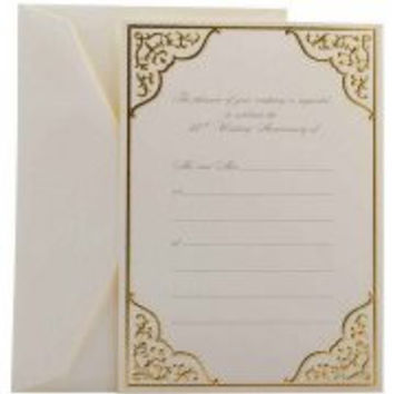 "Wedding Invitations, Fill-In Set, 5-1/2"" x 7-3/4"", Gold Bordered 50th Anniversary, 25pk"