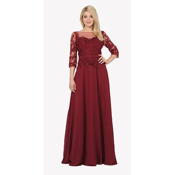 Mid Sleeves Illusion Lace Applique A-line Formal Dress Burgundy