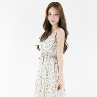 Self-Tie Strap Floral Sleeveless Dress | mixxmix