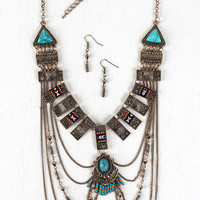 Tribal Bars Draping Chains Statement Necklace | UrbanOG