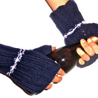Men's fingerless gloves - Man Hand Knit Gloves - Blue Fingerless Gloves for Him - Wrist Warmers - Texting Gloves
