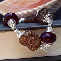 Cranberry Beaded Bracelet:  Plum Purple Nautilus Shell  Autumn Beach Jewelry, Fine Silver Wire Wrapped Fall Accessory