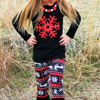 Red Black White Reindeer Snowflake Print Outfit For Girls Infants Toddler Kids Clothes Holiday Christmas Clothing For Kids 6-12M TO 8-9 YRS