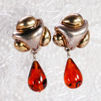 Vintage Statement Earrings, FREDERIC JEAN DUCLOS, Sterling Silver, Amber Teardrops, Handmade, Clip-on Dangles, 1980s Summer Fall Jewelry